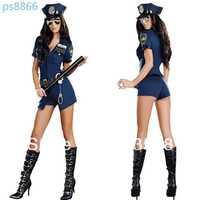 Free shipping Policewomen taste uniform temptation Blue zipper police Halloween party play clothes women sexy lingerie sex dress