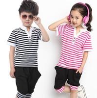 Hot sale children set cotton navy clothing boy girl kids summer set the sports suit child casual set t shirt+pants 2Pcs baby set