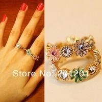2014 Fashion Women Jewelry accessories charm daisy flower Ring 1137 crystal finger ring for lovers gift Free Shipping