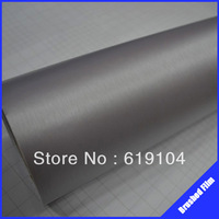 ROHS certificate(1.52X30M) Air free bubbles with channel light grey brush aluminum Carbon Vinyl body car wrap
