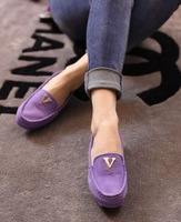 Free shipping 2014 genuine leather round toe gommini metal flat loafers casual flats female