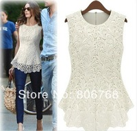 New Spring/Summer 2014 Fashion Casual Women Lined 100% Cotton Lace Sleeveless Dresses White Black Sexy Vest Blouse Free Shipping