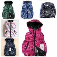 Special offer 1pcs kids winter hoody coat letter printing hot pink hoodies babys vest boys girls waist coat top clothes
