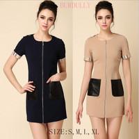 New hot 2014 women's Summer Front zipper dresses Fashion Sheepskin Pocket Grid lines Shoulder strap The mini free shipping
