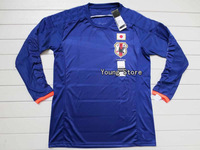 Top thailand quality 2014 Japan long sleeve soccer jersey,Free shipping Japan Football shirts Home blue player version