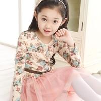 new arrival 2014 spring autumn children kids  clothing floral print girls long-sleeve dress princess yarn girl dress