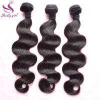 Unprocessed Indian Virgin Hair Extensions Body Wave 3pcs Landot Hair Products Natural Black Color 1B 100% Human Hair Weaves Wavy