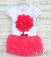 Free shipping 2014 summer The girls chest big flower dress princess dress A097