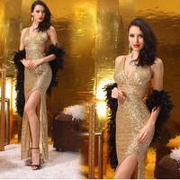 High quality High quality Lan kwai fong 2014 V-neck evening dress sexy slim hip long design costume 5005