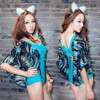 2015 bat sleeve conjoined triangle hot spring bathing suit Female sexy fashion swimsuit,swimwear,beachwear100%certified goods