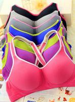 New 2014 Girls Sports Wire Free Cotton Bra Set Vest Type Bra & Brief Sets Daily Casual Underwear