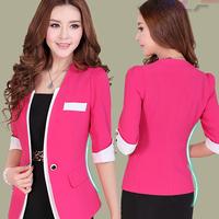Suits For Women Top Fasion Blaser Feminino 2014 Female Blazer Outerwear Three Quarter Sleeve Design Slim Women Professional Suit