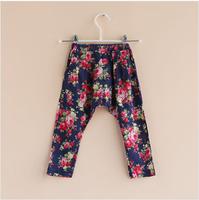 2014 summer new girls casual printed flower harem pants kids harem pants 2T-10T