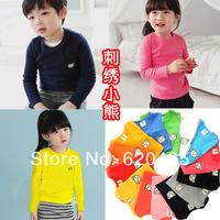 Free shipping Autumn cartoon child basic shirt multicolor embroidery long-sleeve T-shirt