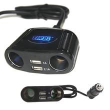 Tirol 4-way%2Fport Van Car Cigarette Lighter Extension Socket Splitter Lighter Power Adapter USB2.0 Charger 12-24V 150W(China (Mainland))