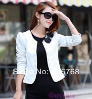 Spring autumn slim women's double breasted short design long-sleeve cardigan blazer female short jacket woman coat large size