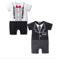 New 2014 Fashion Short Sleeve Gentleman Baby Bodysuits Newborn Bebe Boys Climb Kids Clothing