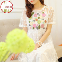 2014 spring and summer organza one-piece dress sweet princess white dress one-piece dress gauze embroidery full dress