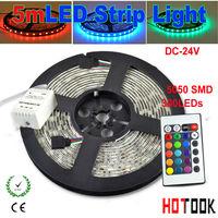 5m LED Strip Lighting flexible 24V CD RGB 5050 Light stripe Tiras LED dimmer IP65 Waterproof String 24key Remote Control CE RoHS