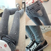 Fall New Korean Rhinestone Skull Feet Cowboy Trousers Slim Thin Elasticity Denim Pencil Pants