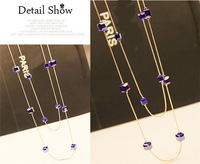 2014 Fashion Jewelry Gold Plated Crystal Cube Long Chains Necklace Women Consume Necklace