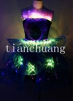 Fiber optic led luminous formal dress luminous clothing neon jacket dance clothes luminous