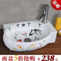 Wood ceramic art basin wash basin counter basin small hanging pots traditional chinese painting flower 7080b-1