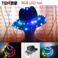 Multicolour led fedoras colorful light emitting hat rgb mike dance jazz hat
