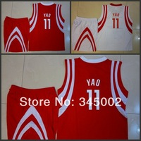 Houston #11 YAO Ming Kids/youth white/Red Basketball (Jersey+short),2014 baby/boys/children basketball Uniforms As Gift