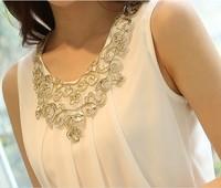 2014 New Fashion Summer Sexy Sleeveless Chiffon Tanks Blouse & Shirts Plus Size S-XL Top