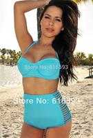 Free Shipping LC40659-3 Cute Women Swimwear Hollow Out High Waist Retro Bikini Set Solid Color Hot Sale 2014 Halter Neck Biquini