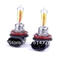 Free shipping H11 12V 55W Golden Yellow Fog Light Bulbs 3000K 2 Pcs Halogen Xenon,car light source