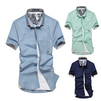 2014 Mens Short Sleeve Casual T Shirt  Turn-Down Collar  Cardigan T-Shirt For Man Wholesale 7 color Free Shipping
