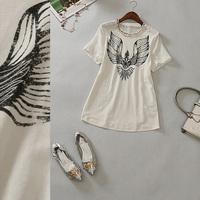 Free shipping! 2014 women's o-neck short-sleeve wings chiffon patchwork straight t-shirt b155660