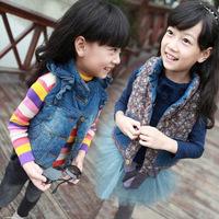 new 2014 the spring autumn winter kids' girl children cotton-padded baby vest kids butterfly sleeve denim vest