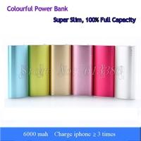 100% Full Capacity Super Slim Colorful 6000 mah Aluminum Power Bank, Free Shipping
