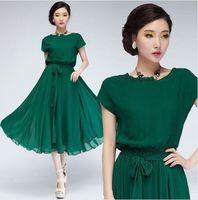 Free shipping Fashion Women Vogue Chiffon Party Ball Gown Evening Long Casual Dress Belt