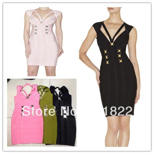 2014 Best Quality black pink green v neck cut out metal celebrity dress hl bandage dresses party dress(China (Mainland))