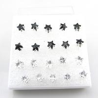 Free Shipping-Wholesale 10 Pairs Mix Lot Black & Clear One Box 6mm Star Imitation Zircon Ear Stud Fashion Women Earring Jewelry