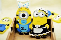 2014 new Fashional arrival cute cartoon  silicon material Despicable Me Yellow Minion cover  for iphone 5 5S 4 4s case cover