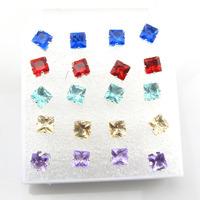 Free Shipping-Wholesale 10 Pairs Mix Lot 6mm Square Imitation Zircon Women Girl Ear Stud With Box Fashion Jewelry