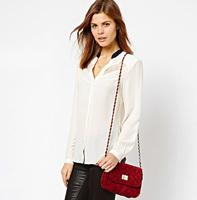 lace stitching chiffon white women shirt stand black collar hollow out female long-sleeved shirt haoduoyi Blouses & Shirts