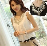 2014 New Fashion Sleeveless Chiffon embroidery Blouse Casual Loose Vest Blouse and Shirts Slim Fit Chiffon Tops Trendy Shirts
