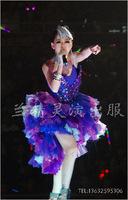 Sexy purple female singer fashion train stage clothes costume