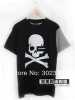 2014 spring and summer mastermind japan mmj 100% skull the trend of patchwork cotton short-sleeve T-shirt