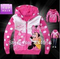 New 2014 Girls Children's Garments   Spring And Autumn Coat  Jacket  Pure Cotton Pink Cartoon Design Children's Clothes