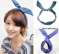 New Arrival Fashion Bunny Rabbit Ear DIY Jeans Color Hairbands/ Women Headbands Hair accessories