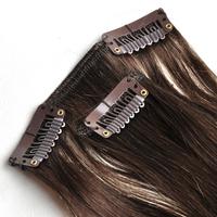 "Free Shipping 100% real Brazilian  virgin Human Hair Clip in Extensions 14"" -30"" 70g -120g 7Pcs/Set  #4 medium  brown"