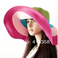New Women Summer 6.69inch Large brim Anti UV Hat Beach 17CM Big brim Cap Straw sun shade Hat