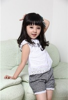 New Summer Kids Clothing Set Lace Children Girl Clothes Set T Shirt And Lattice shorts Pants 2 Colors Infant Garment